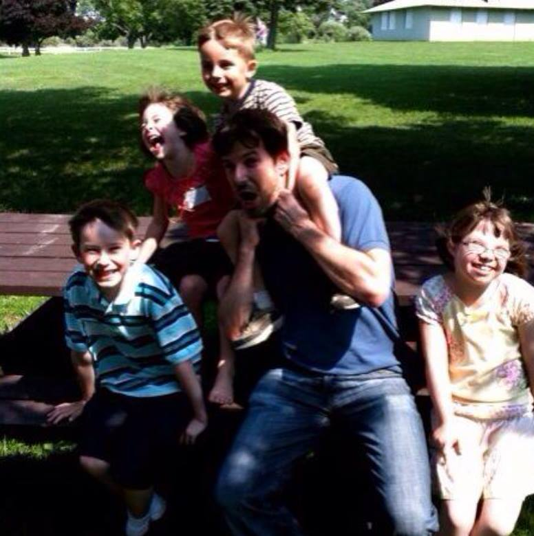 """#throwbackthursday  - Jun 27, '09 - Parents 50th anniversary party: Here with David, Nate, Ellen, and Charlotte cracking up 'cause uncle Tim keeps shouting out, """"it's BOOGERS!!"""" after they catch him in a game of tag.  #rememeberingtim"""