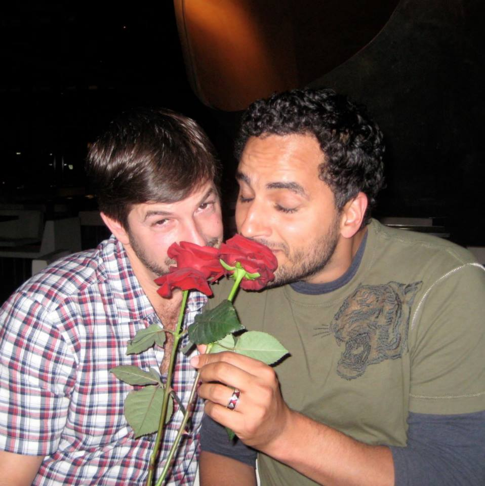 """#throwbackthursday  #41 - Paris 2008. High on love, I'm thinking, """"OMG, Tim. You shouldn't have!"""" Tim: """"Uh, he doesn't know these flowers came with the restaurant, but whatever works!""""  #rememberingtim"""