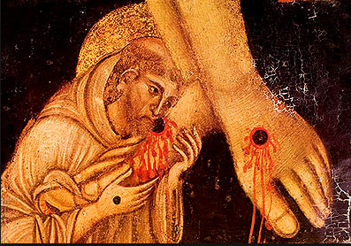 St. Francis kissing the bloody wounds in body of Christ   Google Search.png