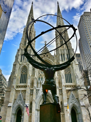 The view from Rockefeller Center across Fifth Avenue to St. Patrick's Cathedral in Manhattan