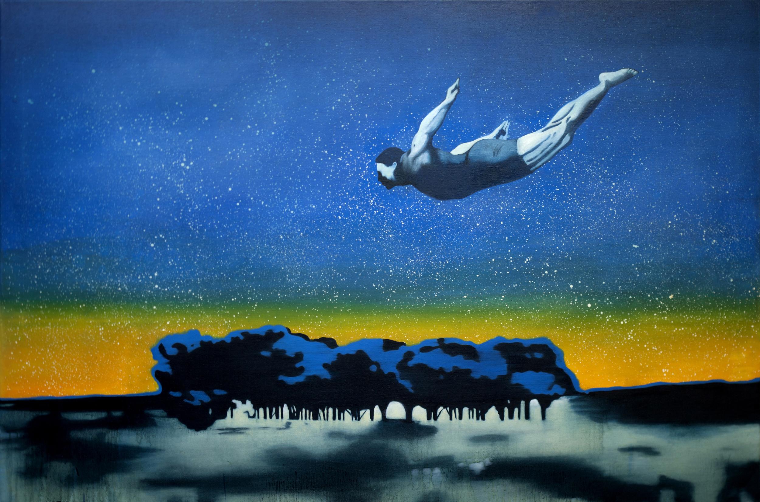 """Olie på lærred 120x180 """"Jump"""""""