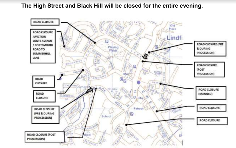 Road closures on the night in Lindfield, Tuesday 5th November 2019