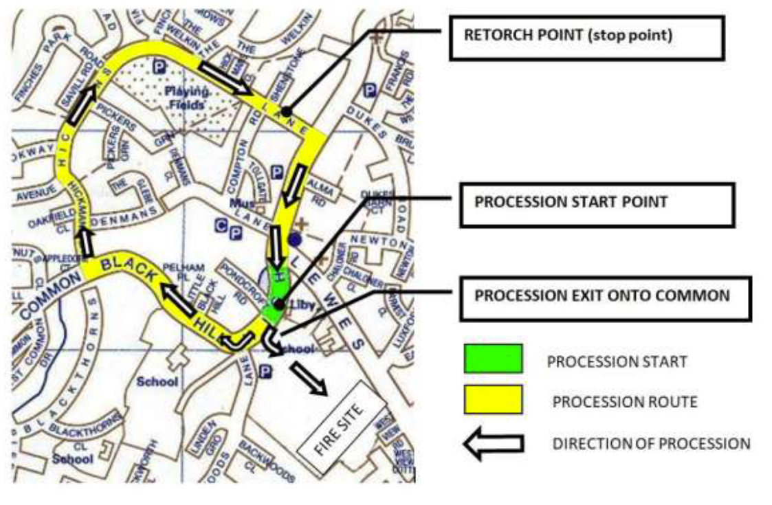 Lindfield Bonfire Procession Route