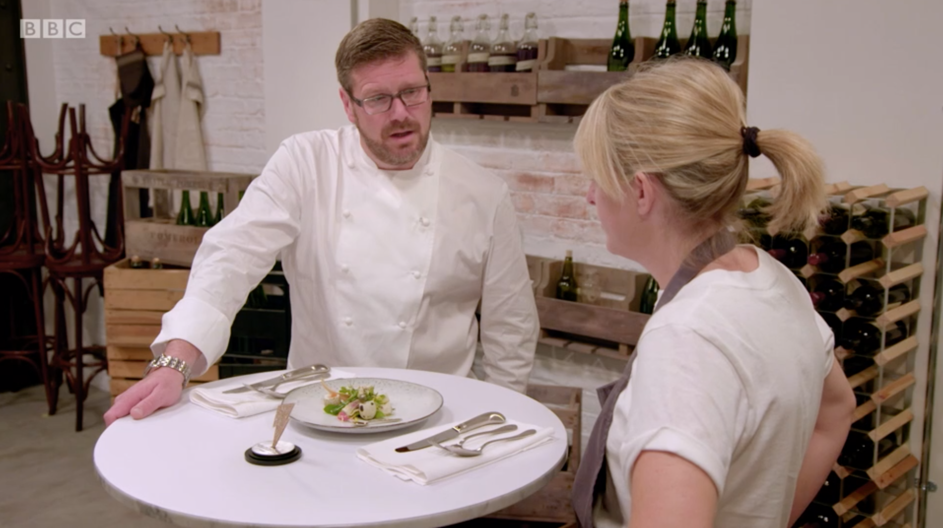 Emily serving up her starter to Daniel Clifford -