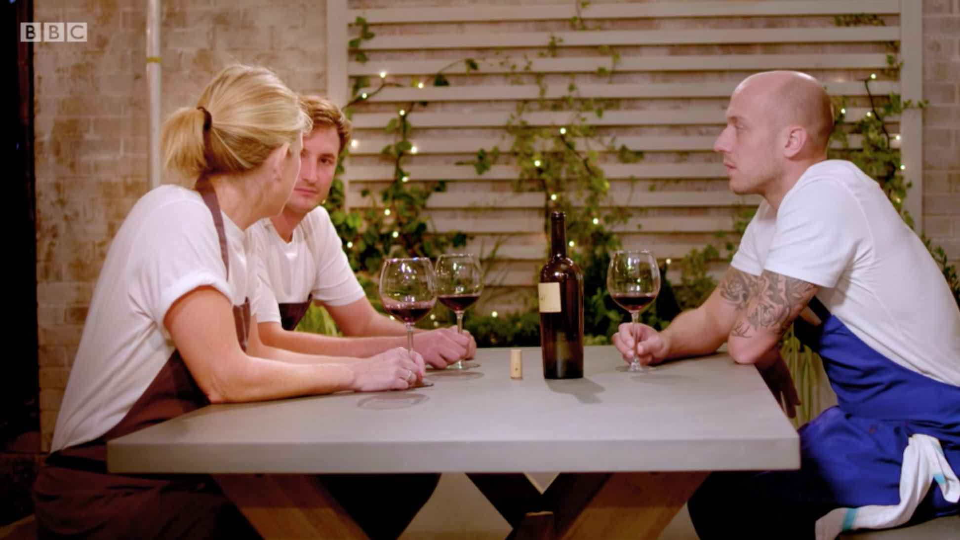 Emily sharing a glass of her own wine (E+M)2 with Lee and Jo