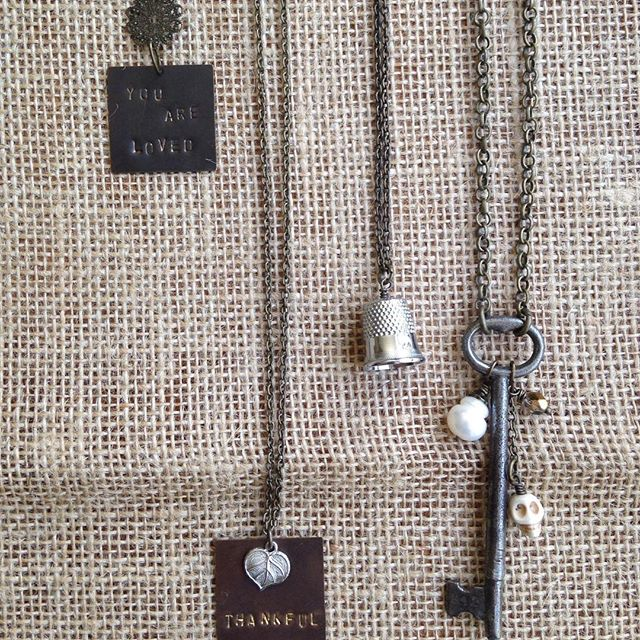 """Flash Sale!! Now through Friday, May 27th 12:00 PM!! Take 30% off! All prices are listed to reflect the discount! L-R: """"You Are Loved"""" $9.10 """"Thankful"""" $10.50 Thimble $7 Skeleton Key and Bead $11.90"""