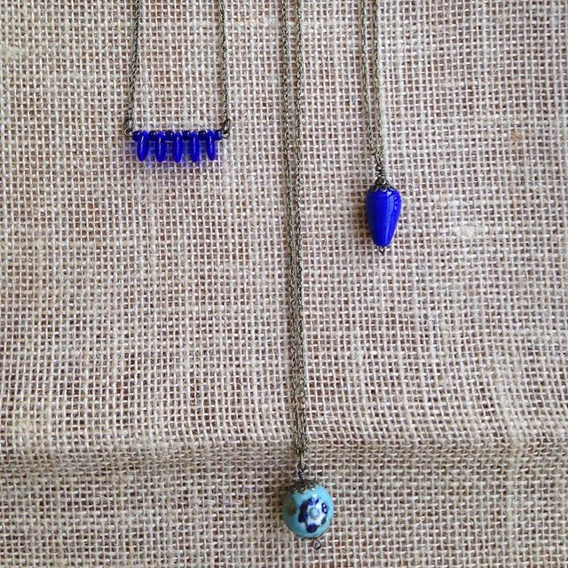 Flash Sale! 30% off now through Friday at 12:00PM!! Prices listed reflect discount. L-R  Short Cobalt Necklace $7 Ceramic Cobalt Flower $7 Cobalt Ceramic Short $5.60