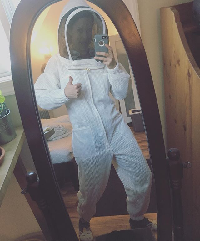 Fancy duds #beekeeping #protection #spacesuit