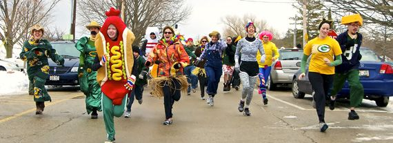 The Fruit Loop run.  Courtney and Karin are in the middle! (Farmer and zebra)