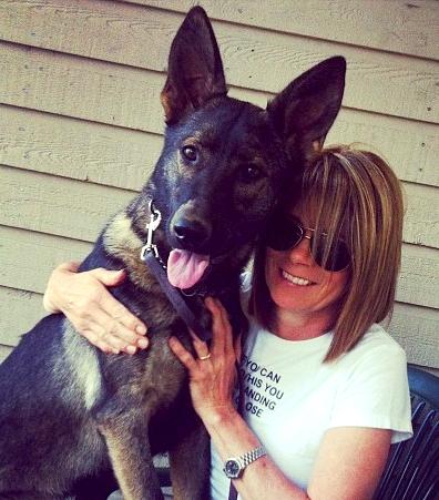 Keltie R. Lang with german shepherd dog