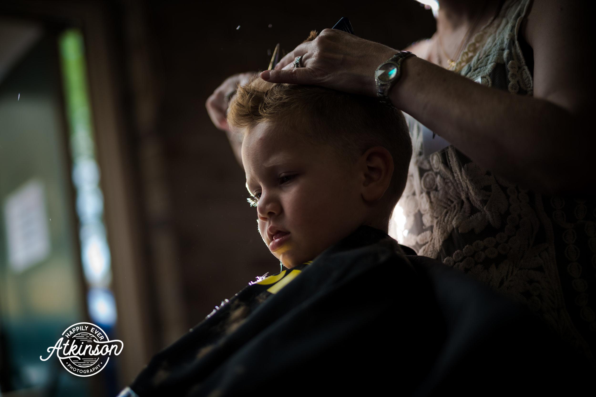little boy gets a haircut