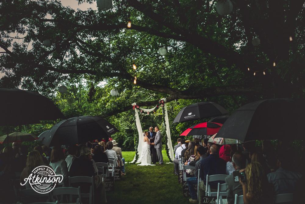 Wedding Ceremony in the Rain with Umbrellas