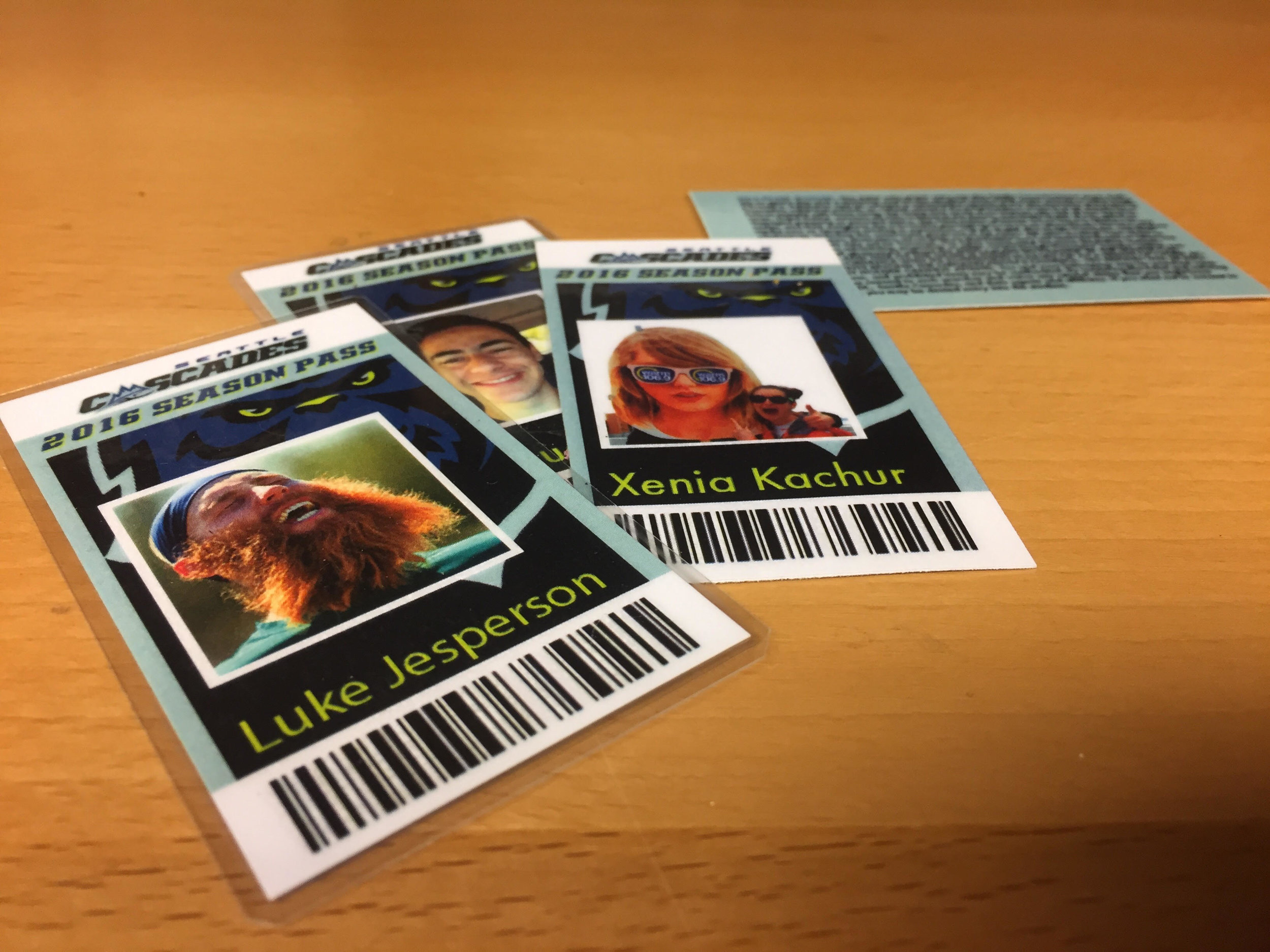 Examples of 2016 season pass ID card