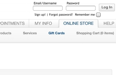 be sure to click the  gift cards  tab after you are redirected to the online gift card store.