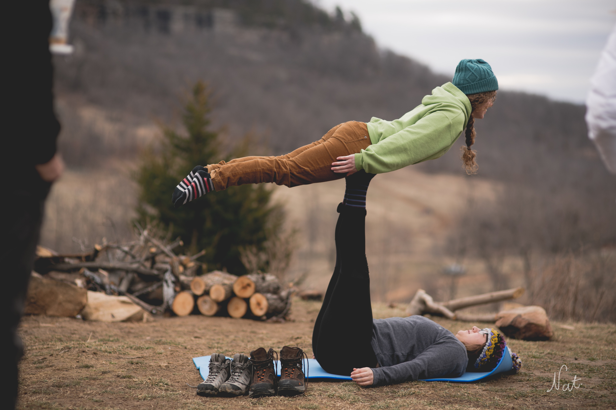 Kayla and Wren performed Acro Yoga at the camp.