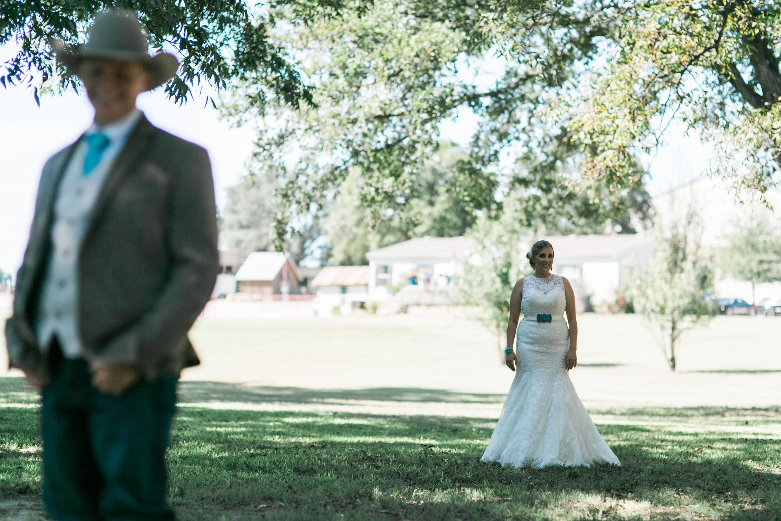 The excitement is high from these two people seeing the first time on the wedding day.