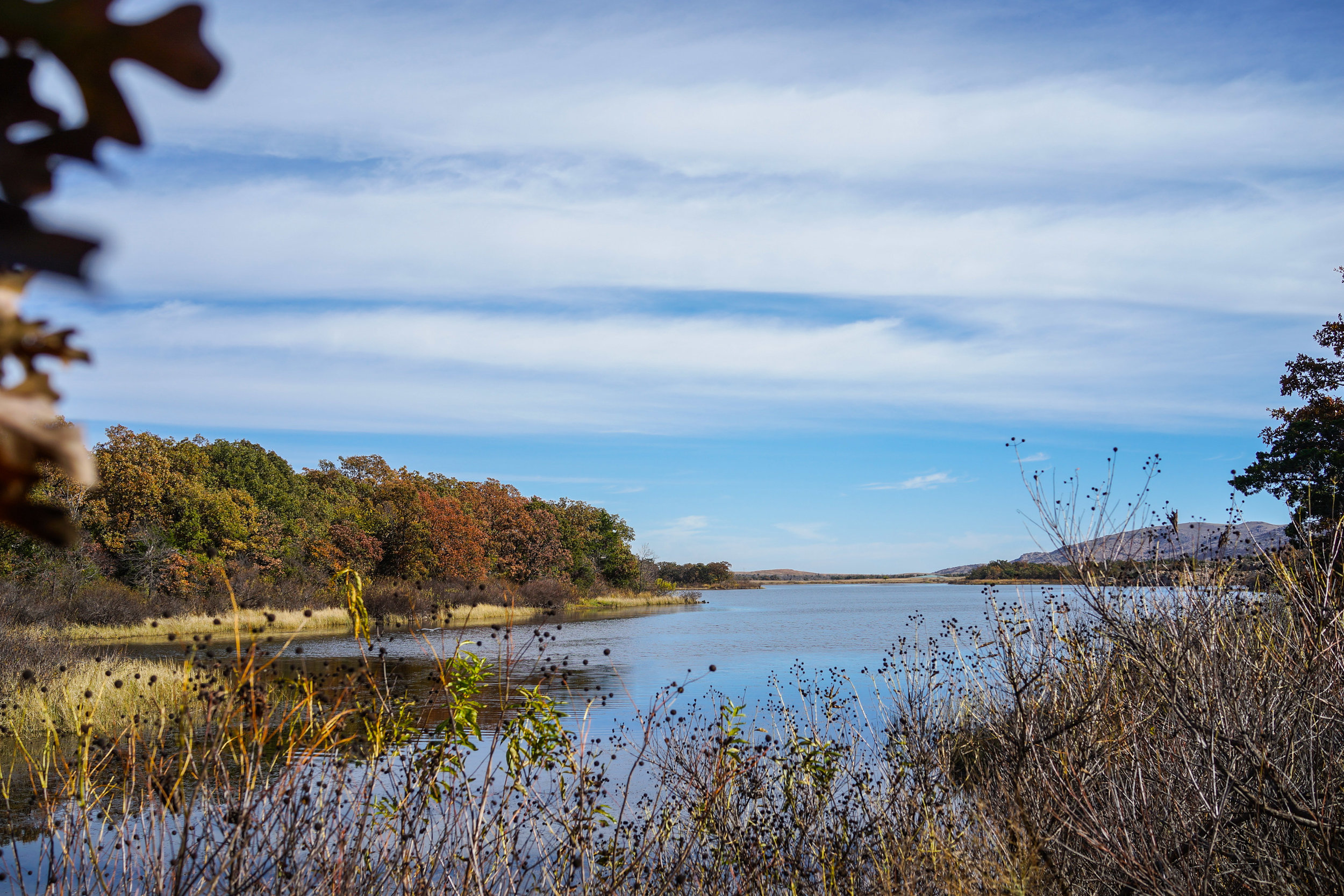 The view of Quanah Parker Lake from the hiking trail.