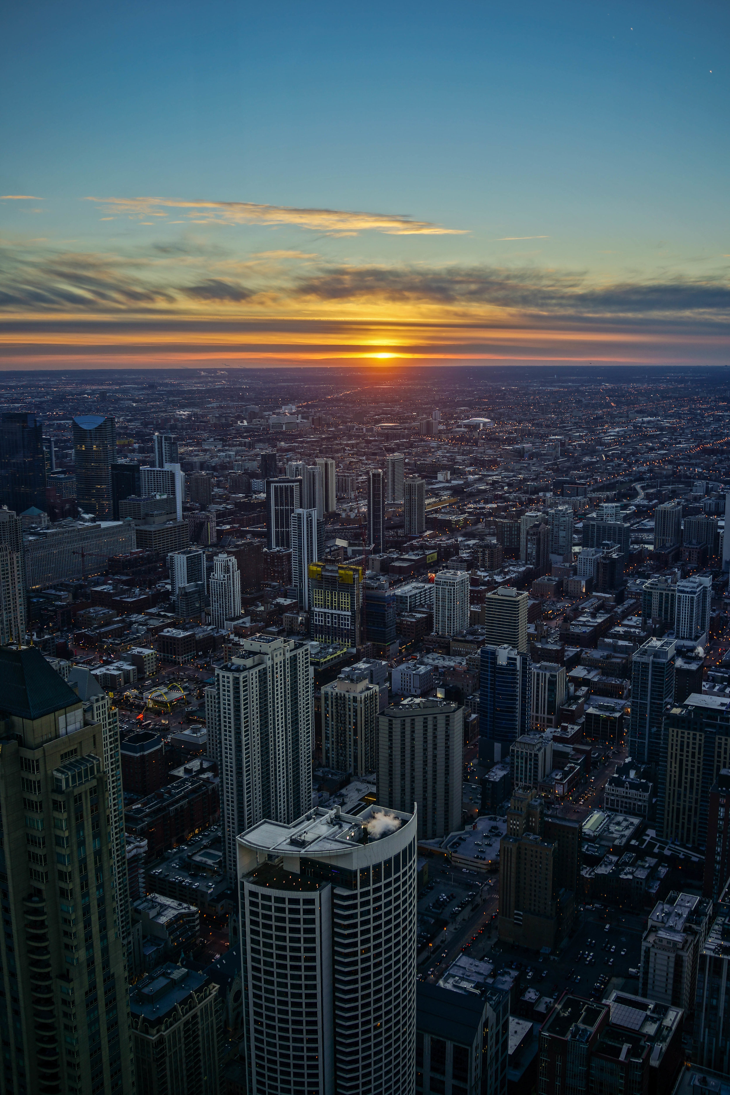 Chicago sunset view from 360 Chicago