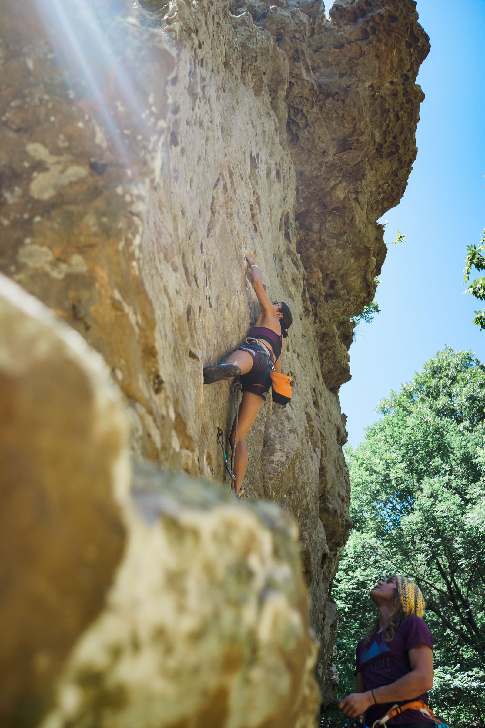 Maria is climbing on Sour Girl 5.10c