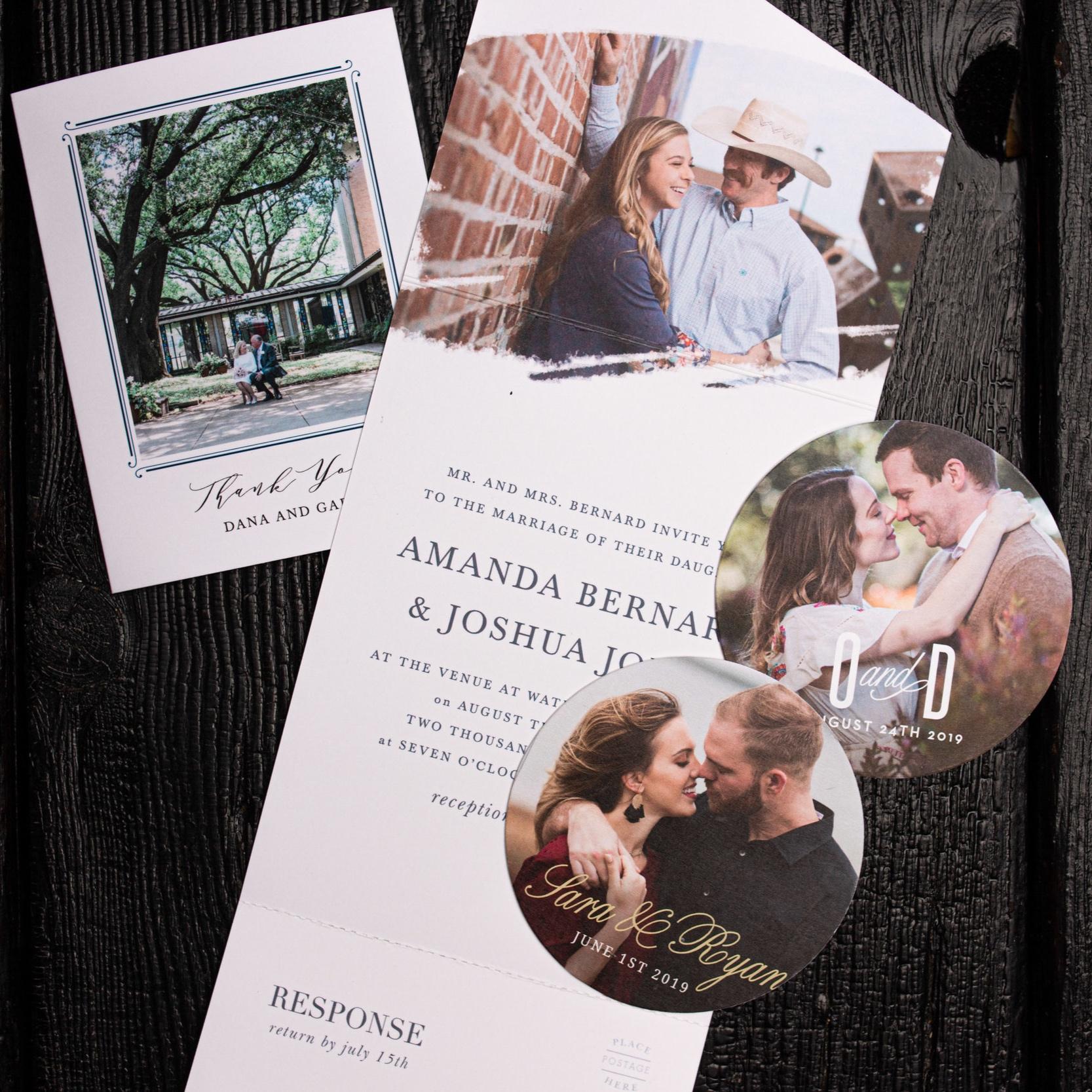 Thank you card, Seal & Send Wedding Invitations, Wedding Coasters