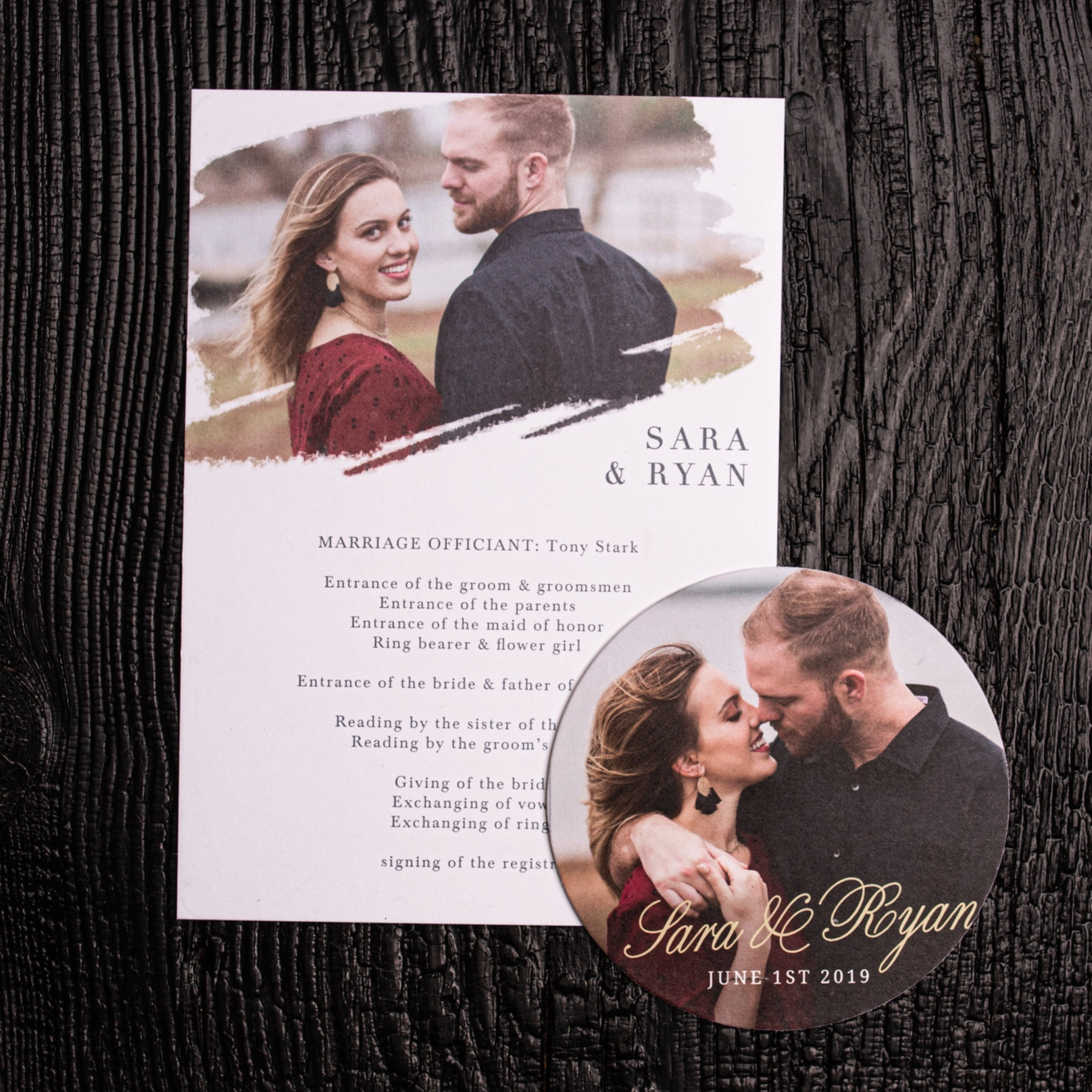Wedding Schedule and Coaster