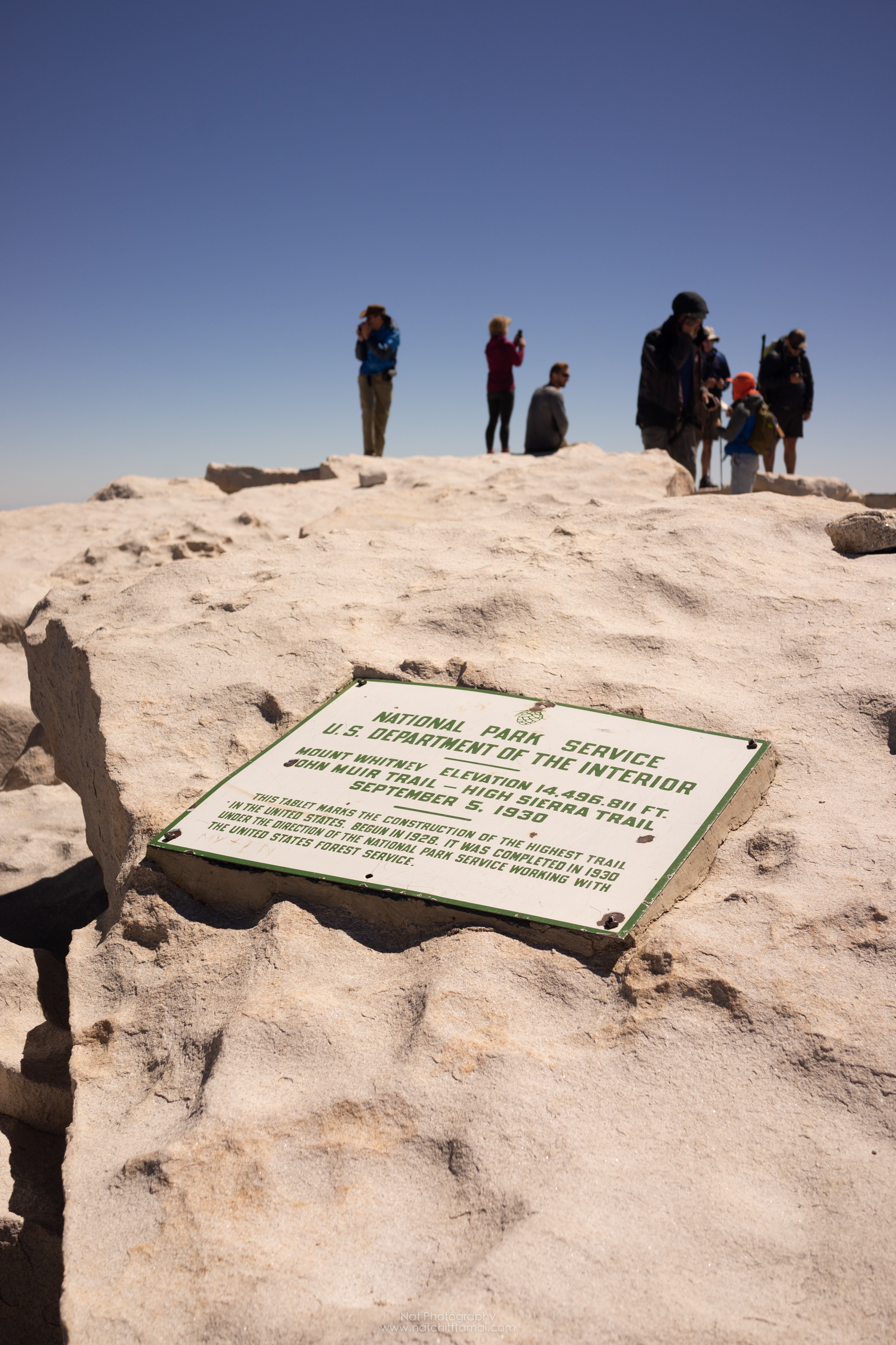 The sign from US NPS for 14,496.811 feet from 1930