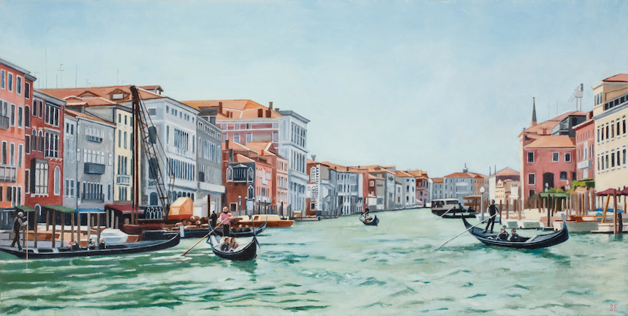 Grand Canal, oil on panel, 8x16,  2015