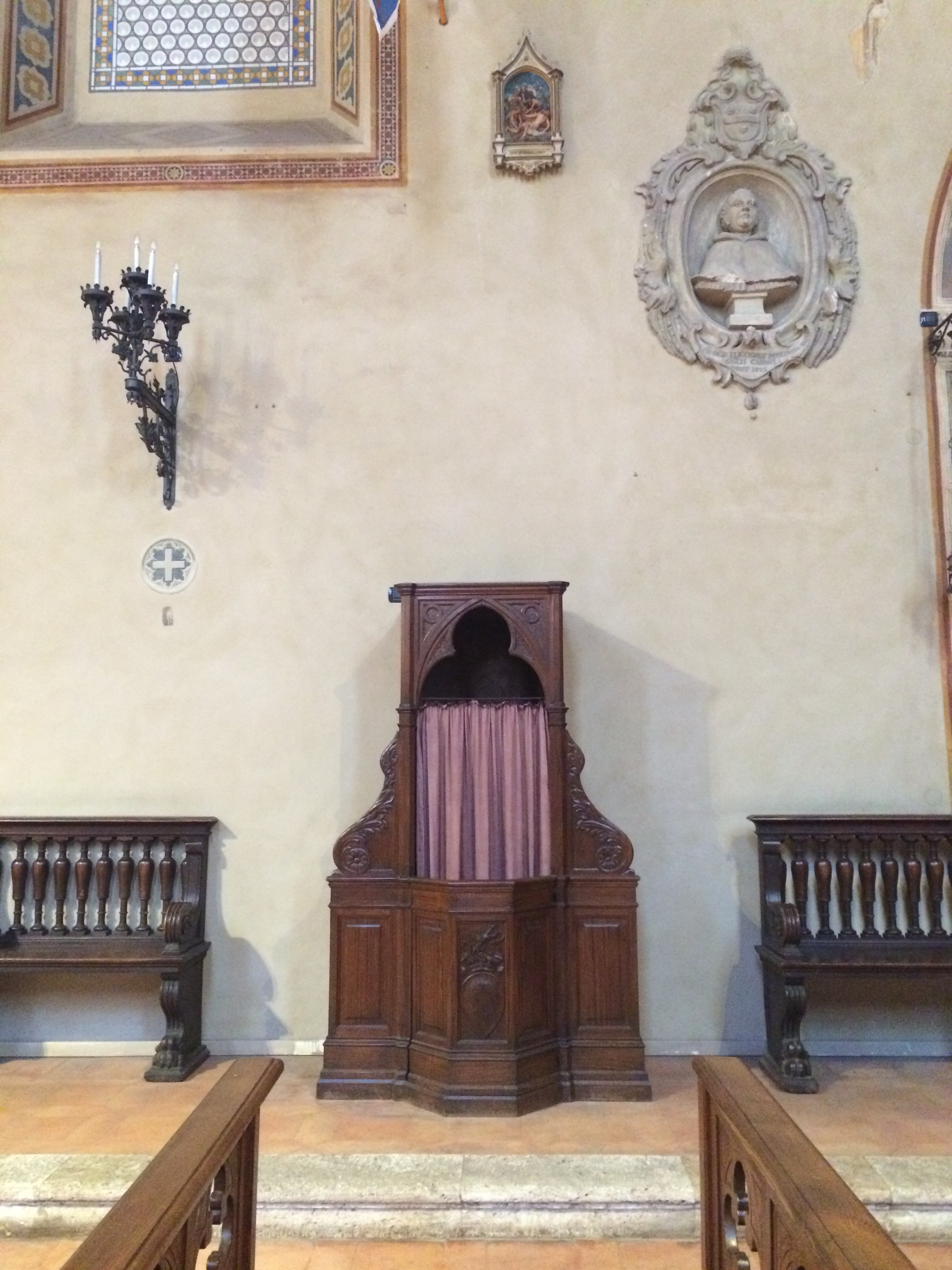 A confessional in a church around the corner from my home.   I want to paint this of course.