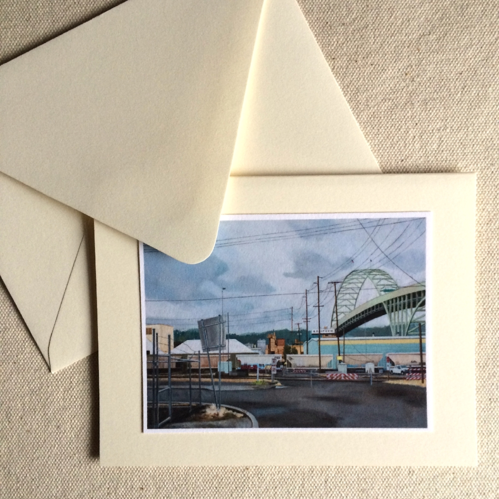 'Fremont Bridge' on soft white fold-note card.