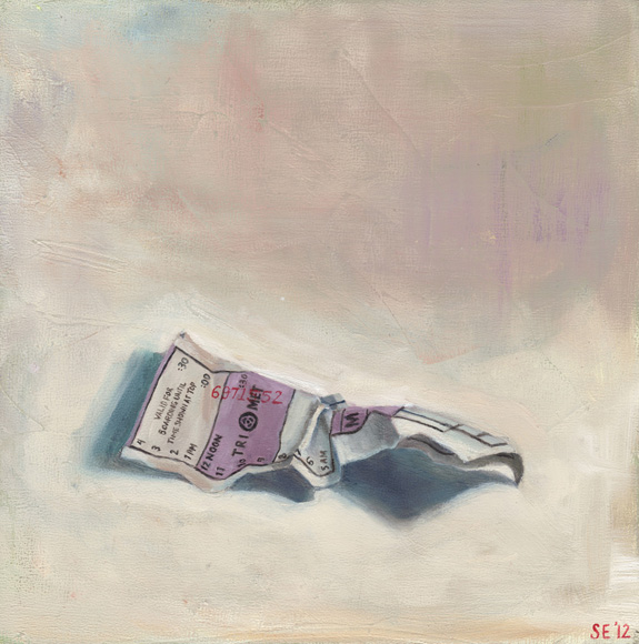 TriMet Ticket Lilac, 8x8, oil on panel, 2012