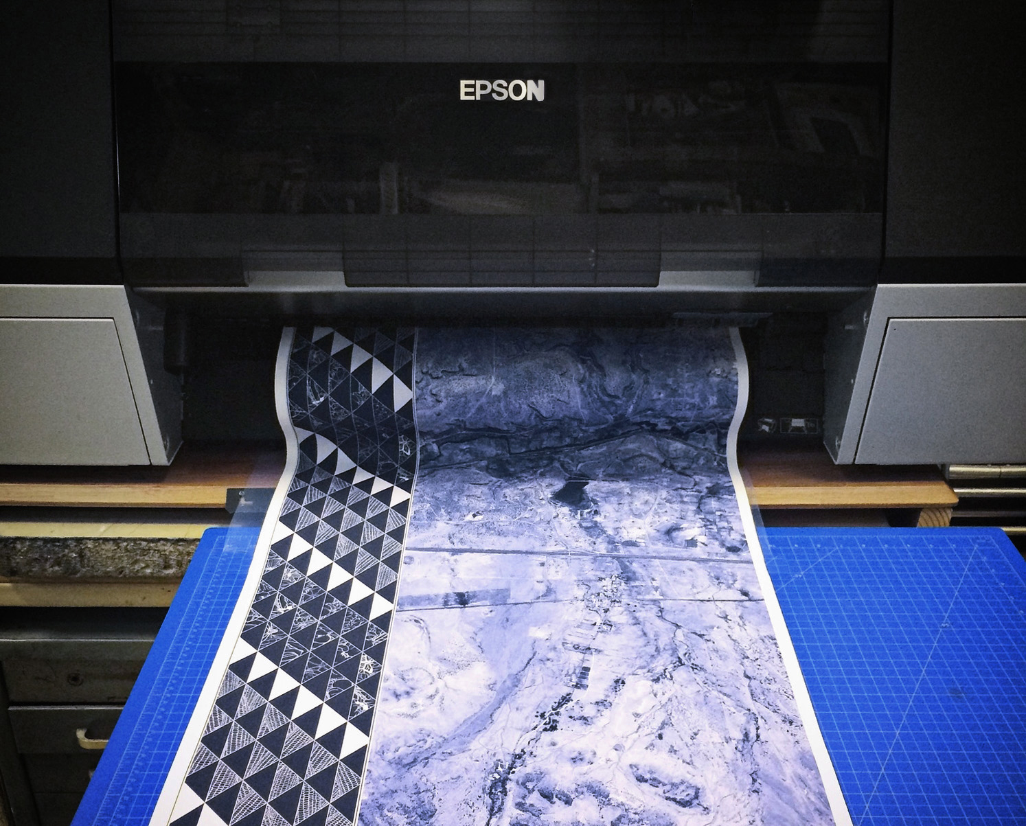 """""""Baby,"""" our beloved large-format RGB colorspace Epson inkjet printer."""