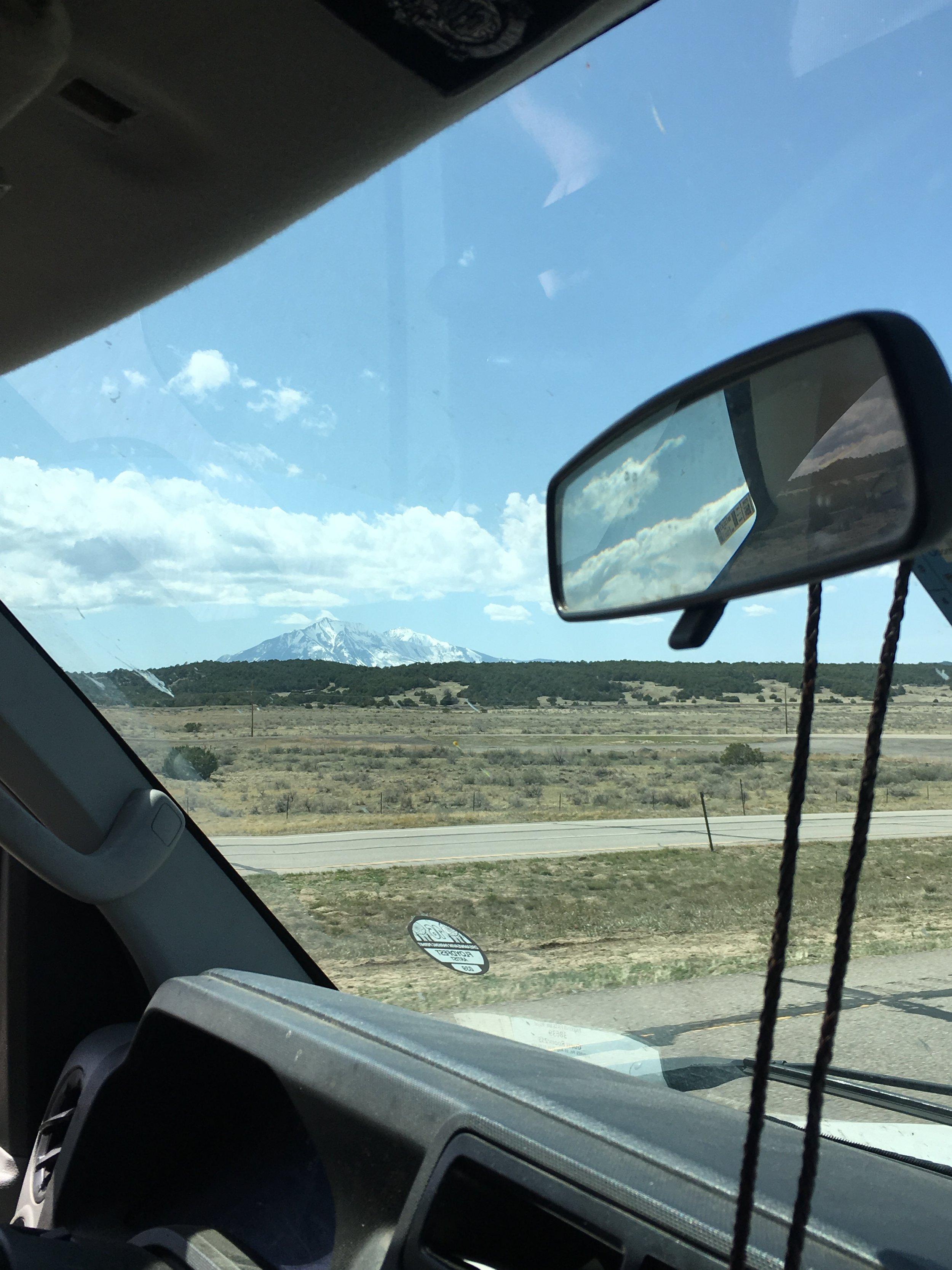 Spanish Peaks from the van (Colorado)