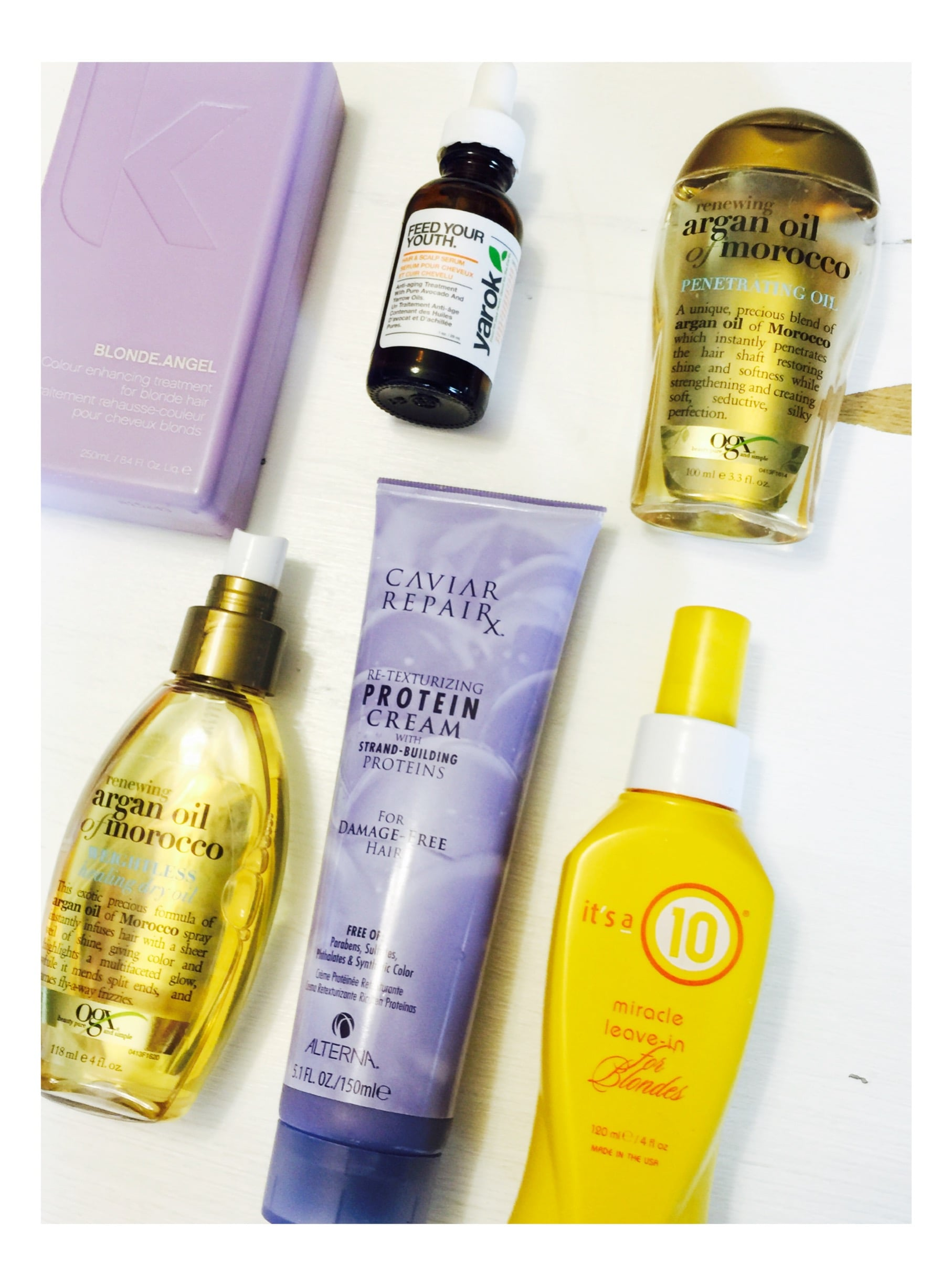* Blonde Angel Purple Shampoo and Conditioner *Yarok Hair & Scalp Serum * Argon & Morocco oil (just what I have now) * Caviar RepairX Re-texturizing Protein Cream * It's a 10 Miracle Leave in For Blondes