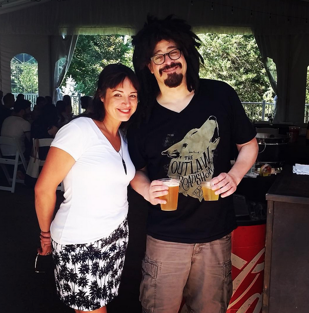 Event Coordinator Megan with Counting Crows frontman, Adam Duritz