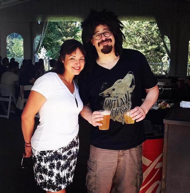 Event Coordinator Megan with Counting Crows frontman, Adam Duritz