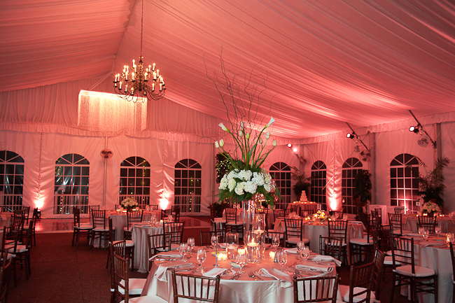 Our 4,200 sq. ft. heated pavilion will hold up to 300 guests for an inside ceremony. We set up the ceremony just like it was planned for the garden including an arch and optional aisle decorations.