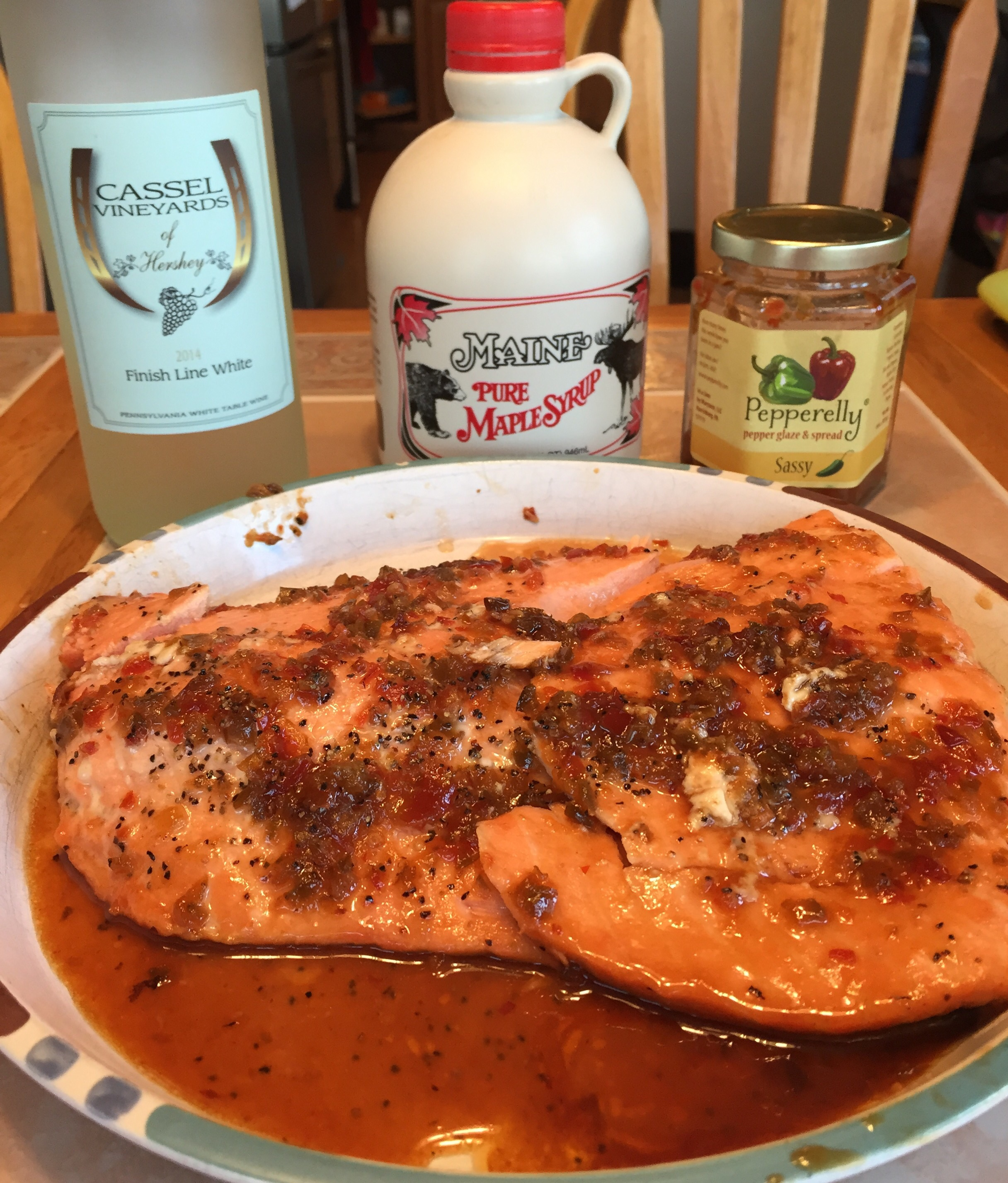 Salmon grilled with Cassel Vineyards Finish Line White, Maine Maple Syrup and Pepperely Glaze