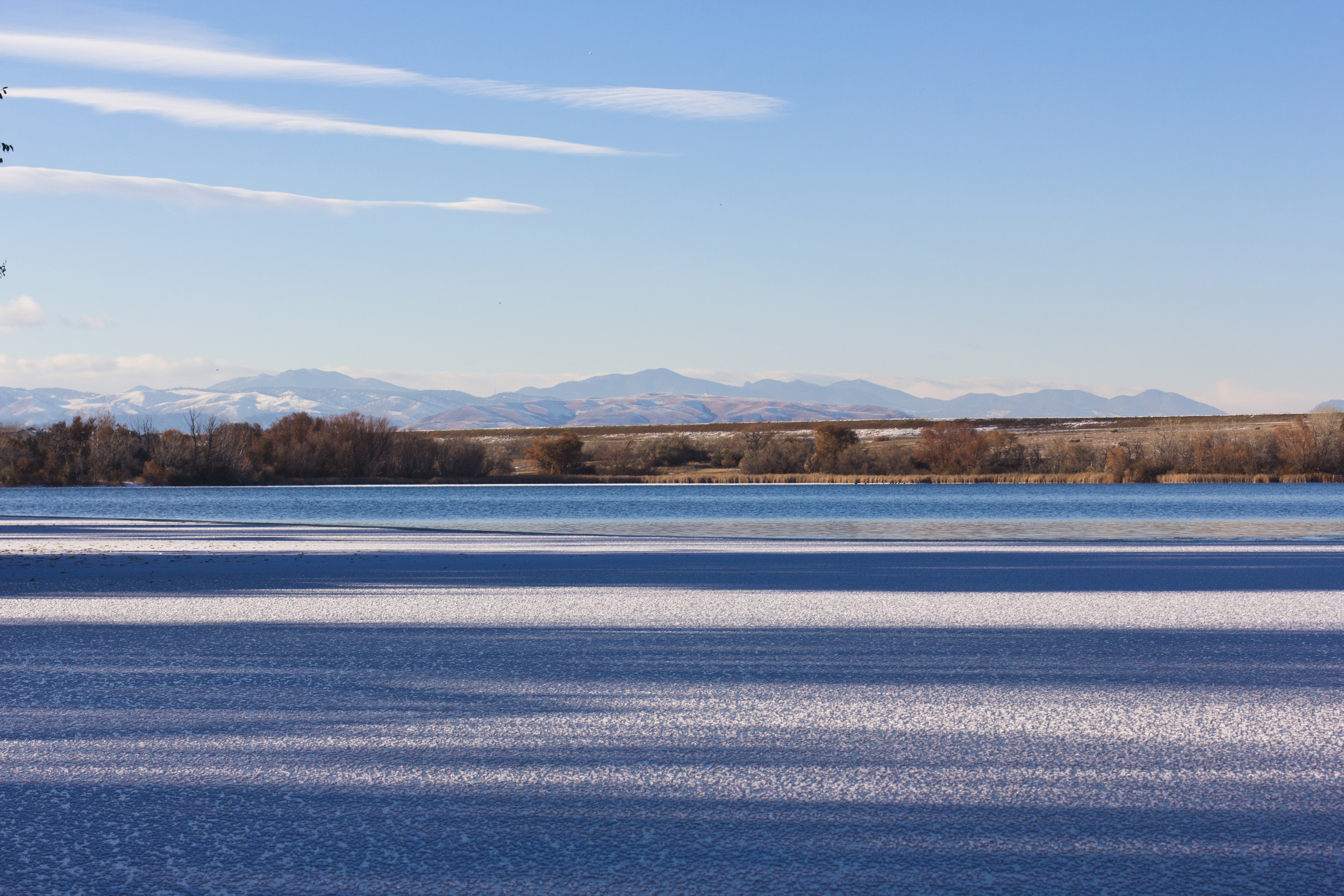 Colorado mountains and frozen lake
