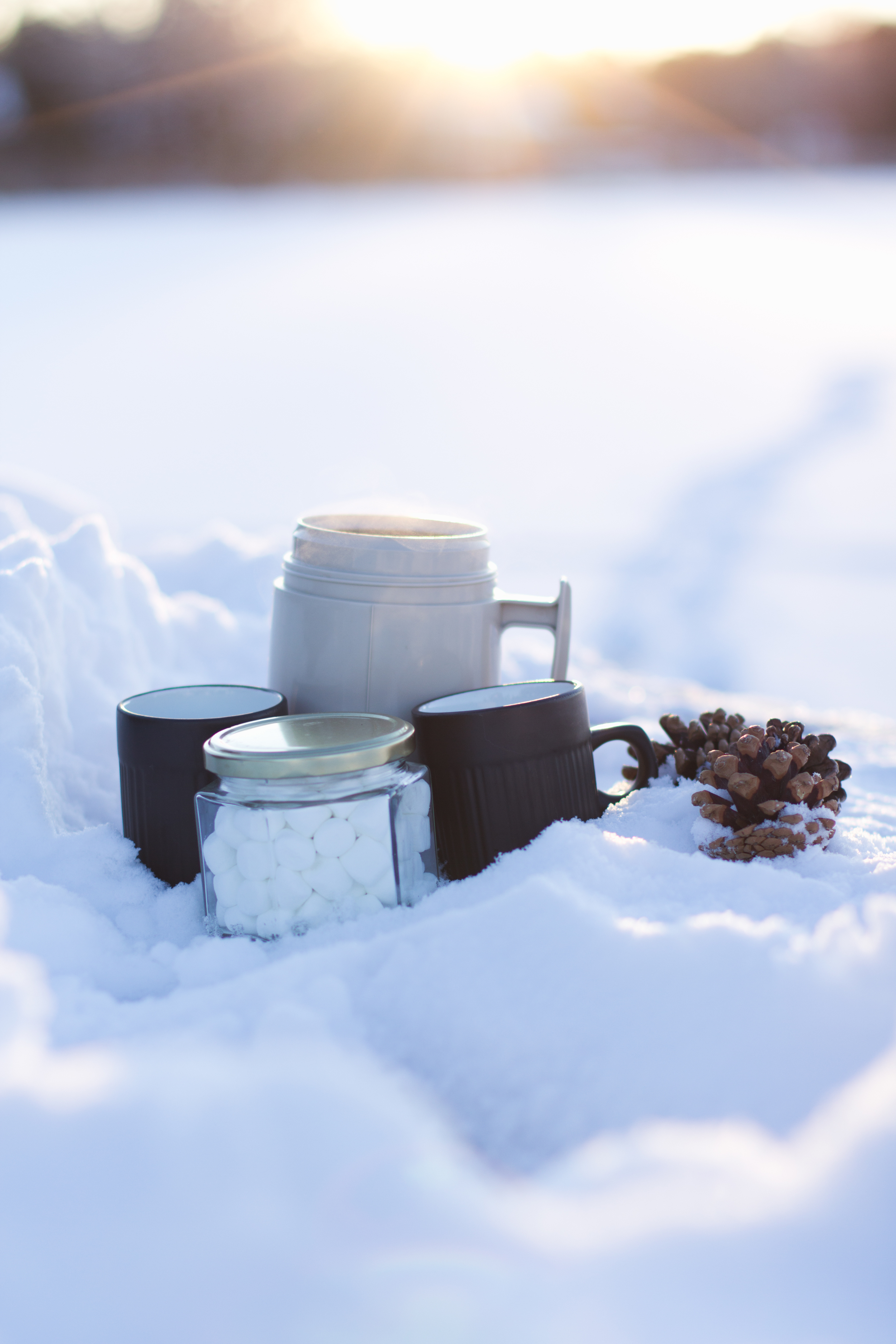winter engagement with hot chocolate