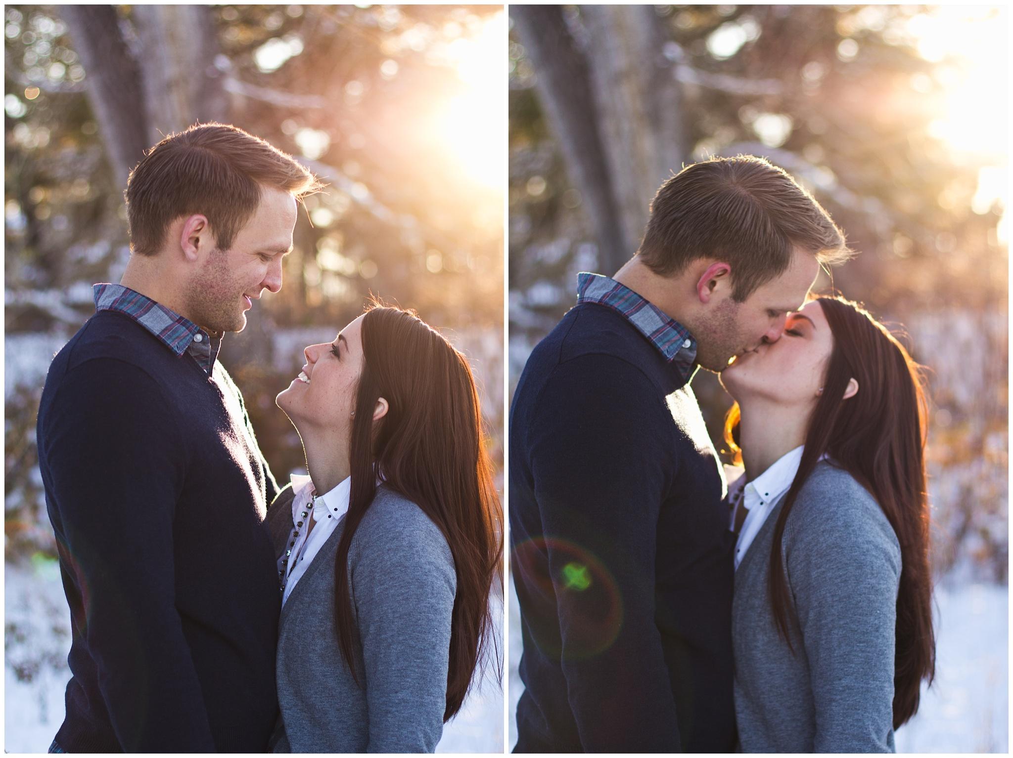 Colorado winter engagement kiss