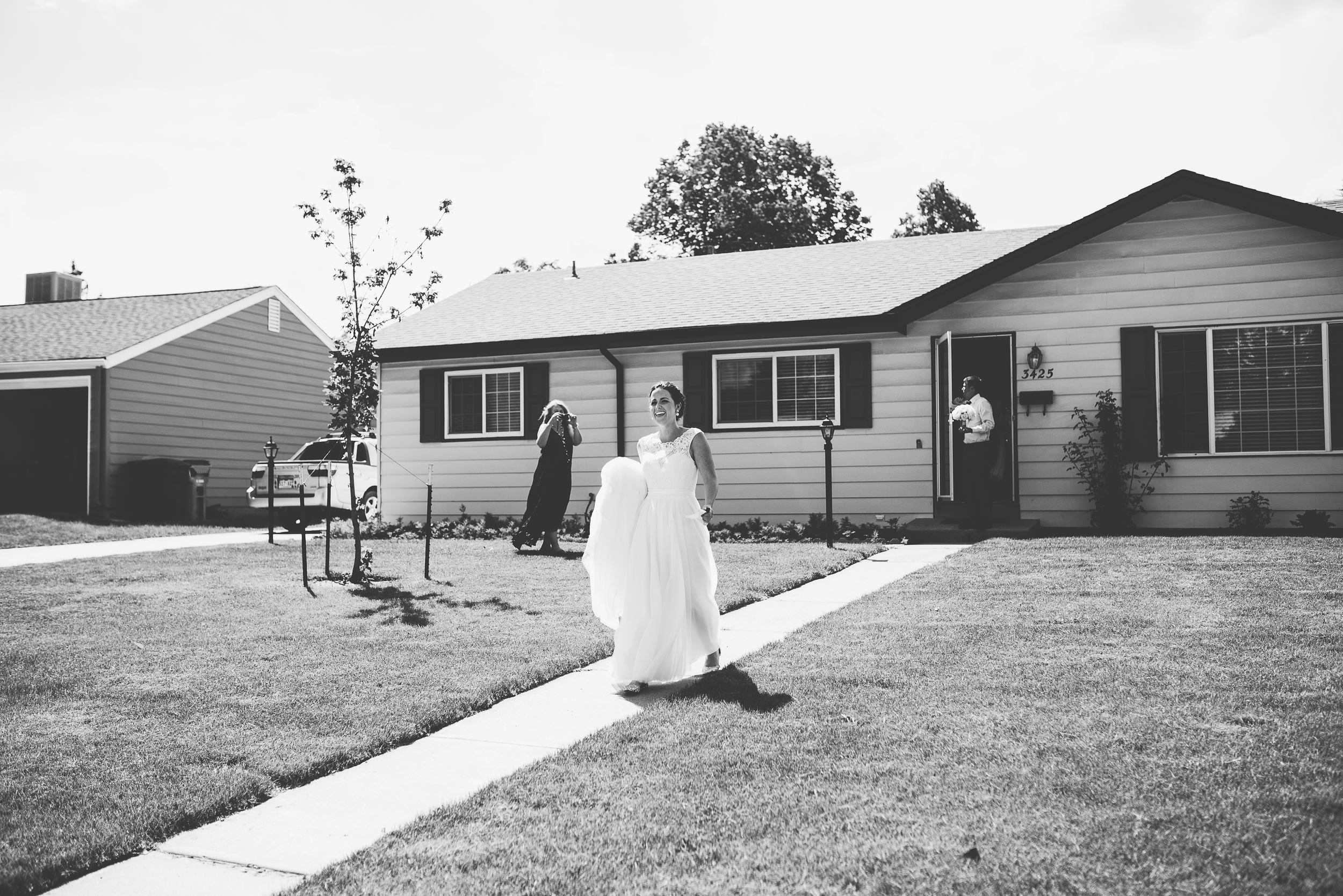Coohills Wedding Photographer - bride leaving house for wedding