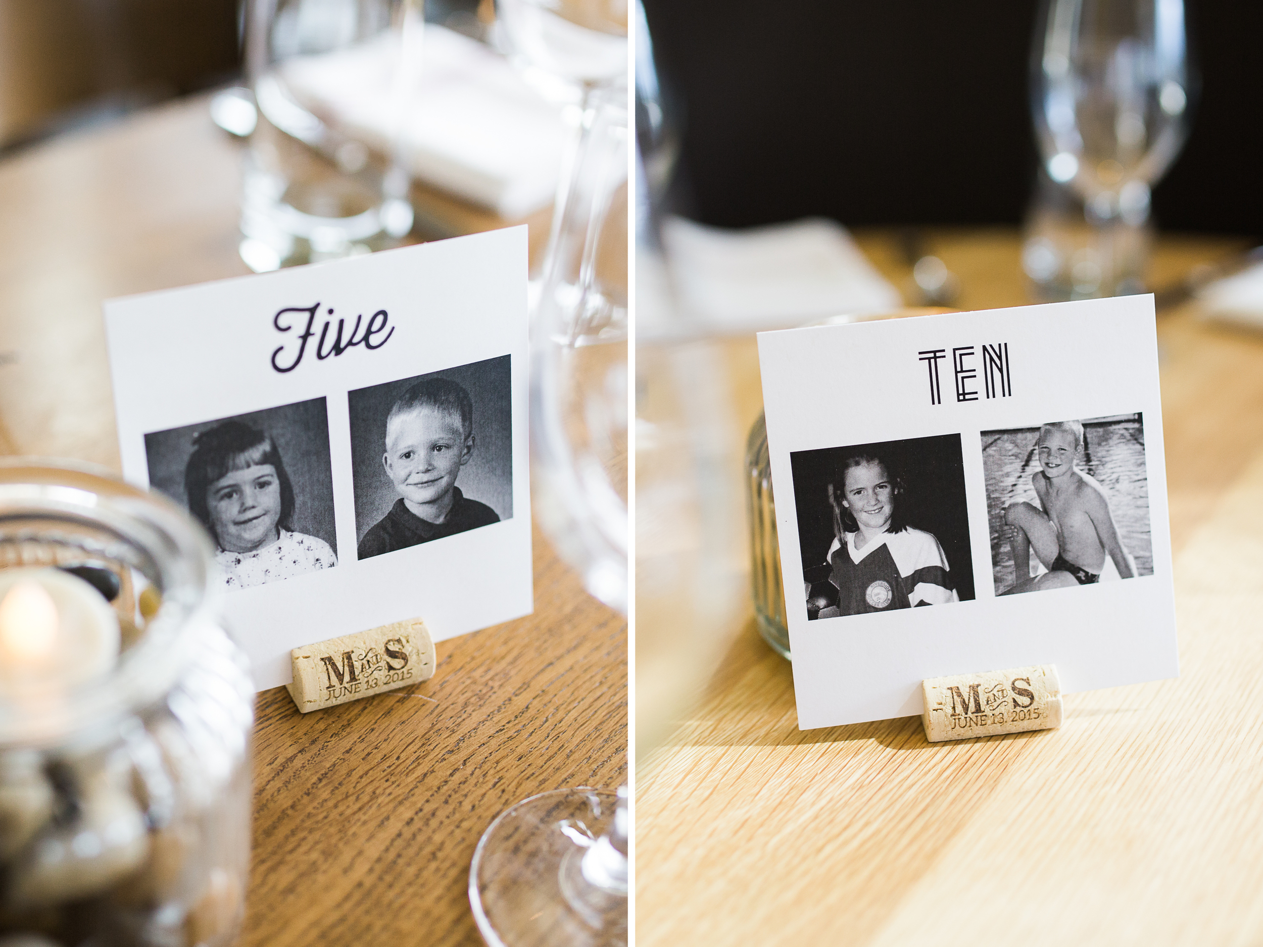 Coohills Wedding Photographer - custom table numbers with baby pictures