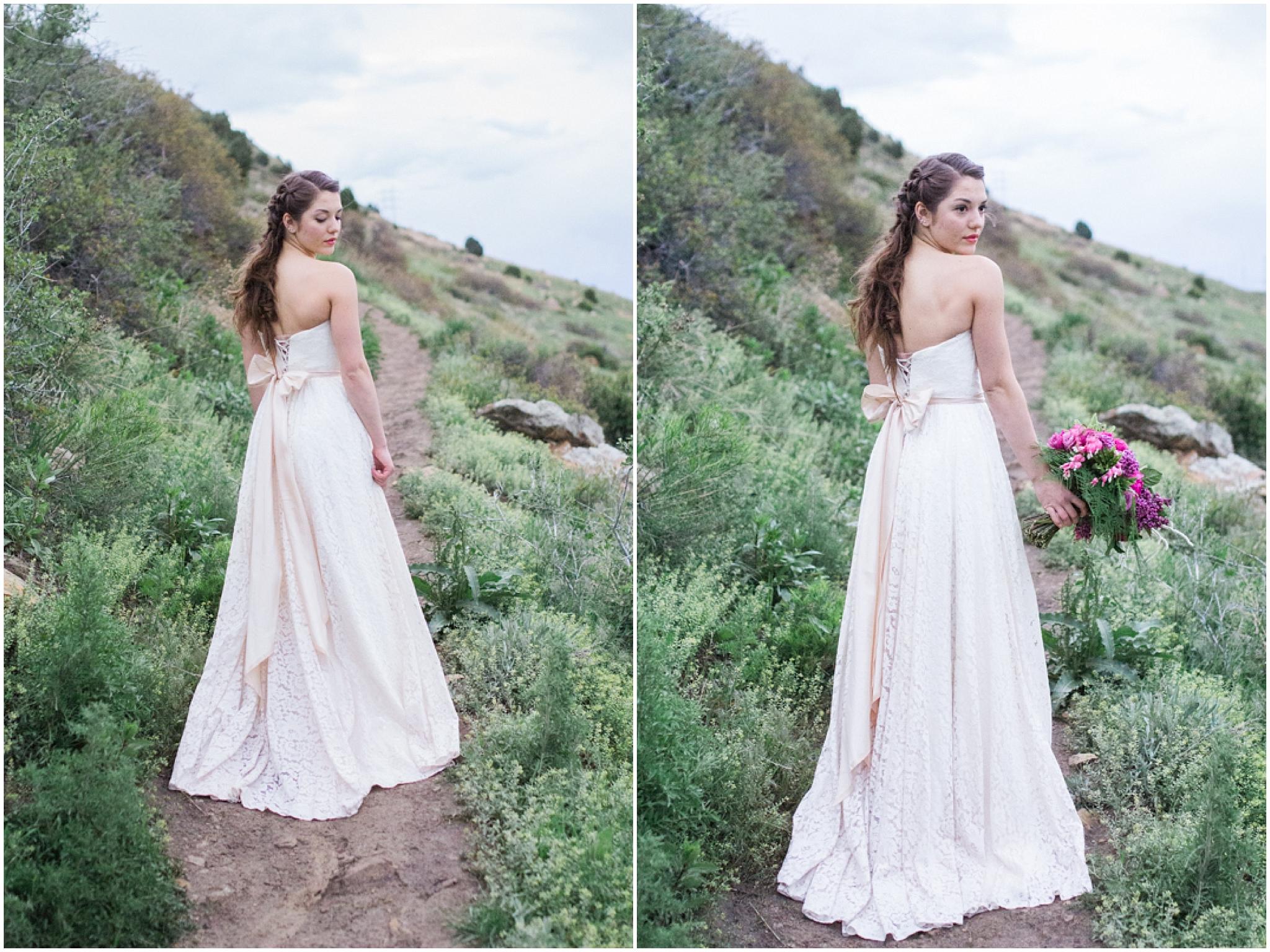 mountain top bridal pictures - Colorado Mountain Wedding Photographer
