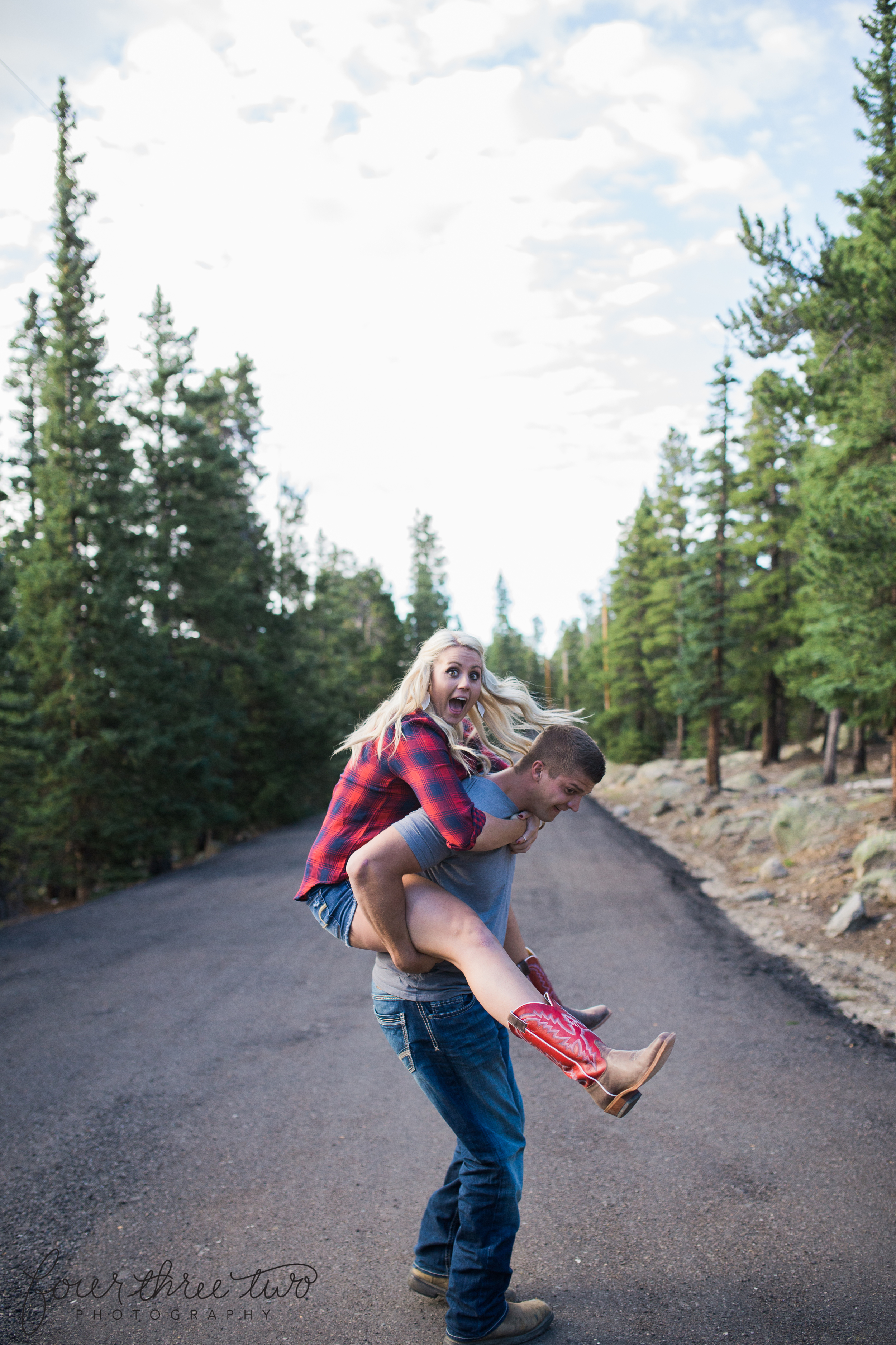 Colorado Mountain Wedding Photographer - Fun mountain engagement shoot