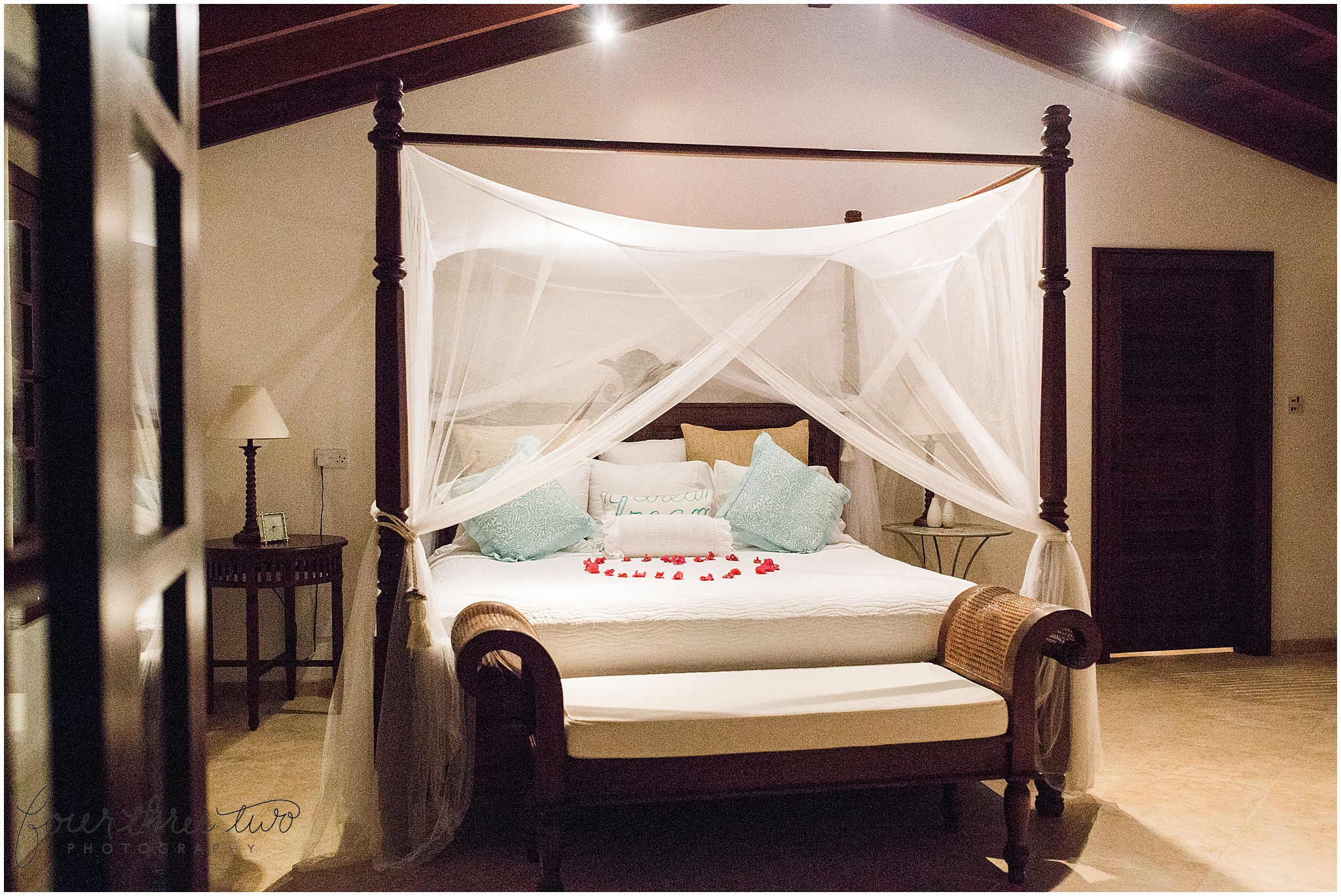 We jetted off to Bequia for our honeymoon. It's a teeny tiny island near Barbados. After numerous flights, this king sized bed + flowers (in the shape of a heart!) was exactly what I needed.