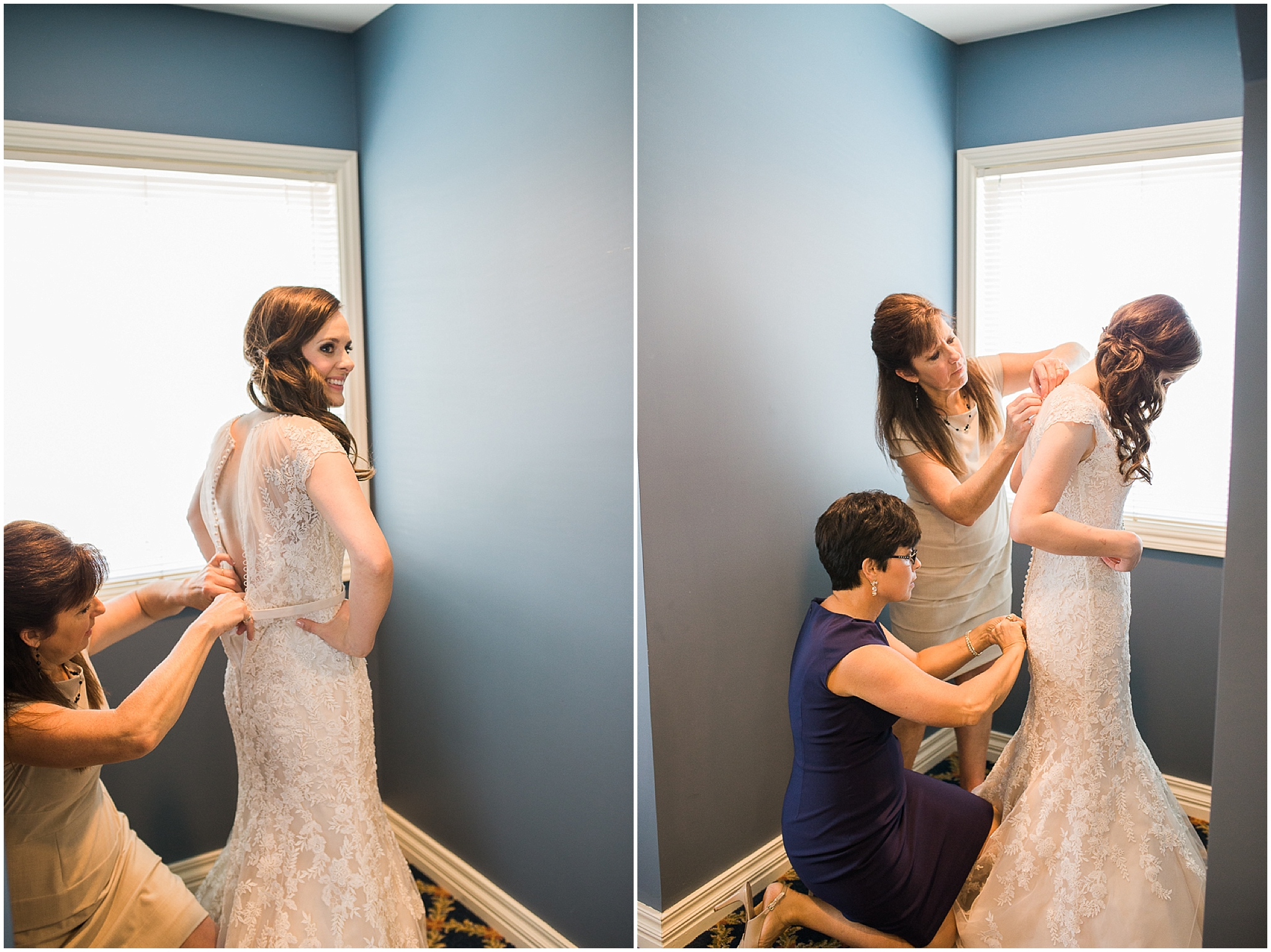 Bride getting dressed - UNO Thompson Center wedding