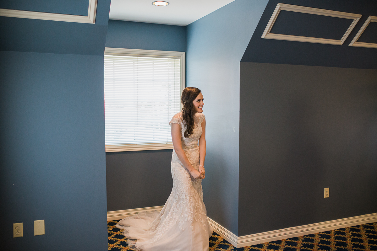 bride in Thompson Center at Omaha wedding