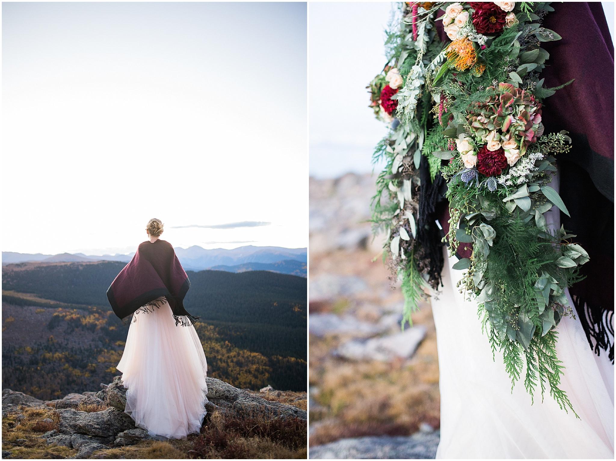 adventurous colorado bride on top of the mountains