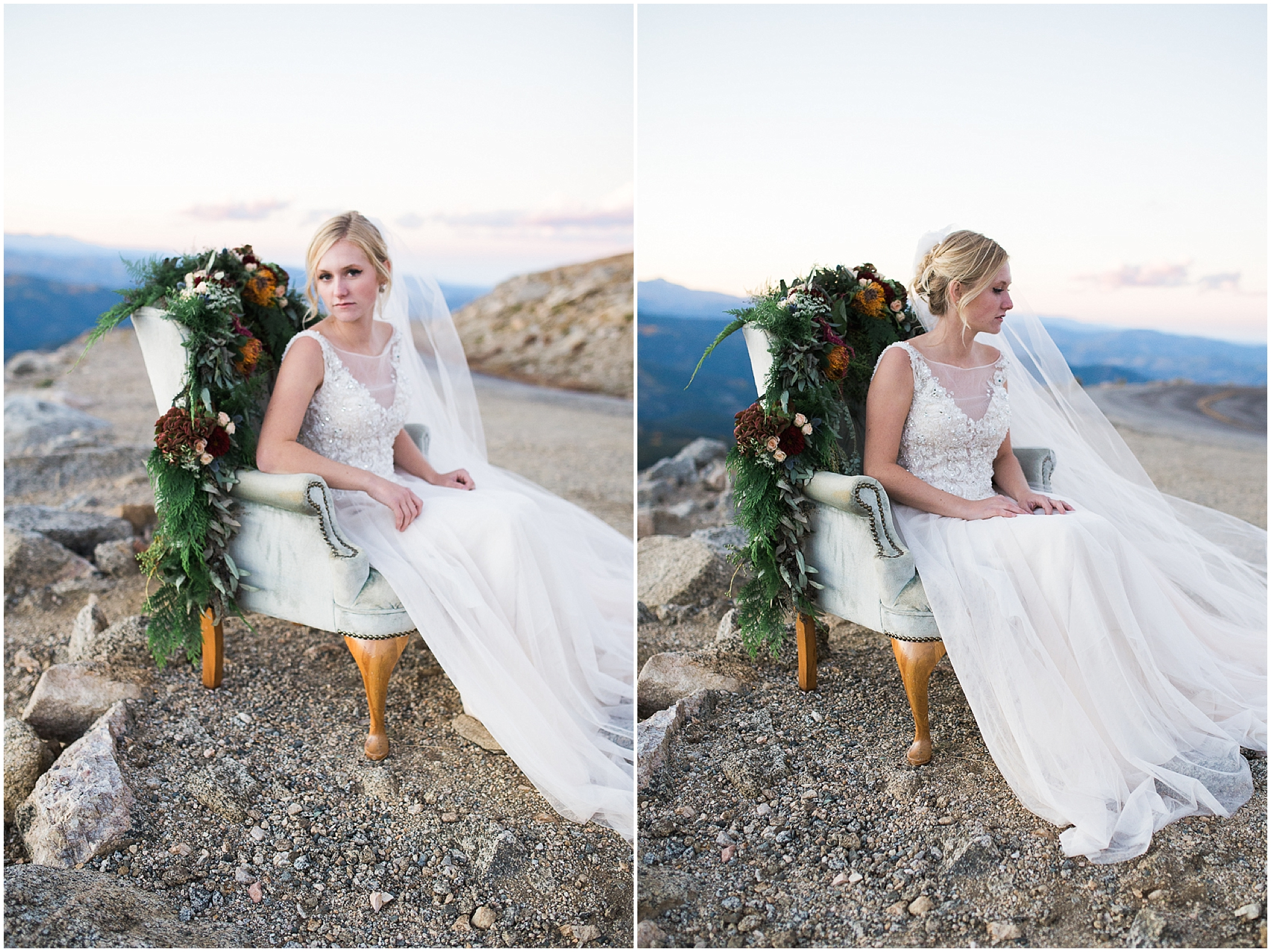 Colorado bride on top of mountain