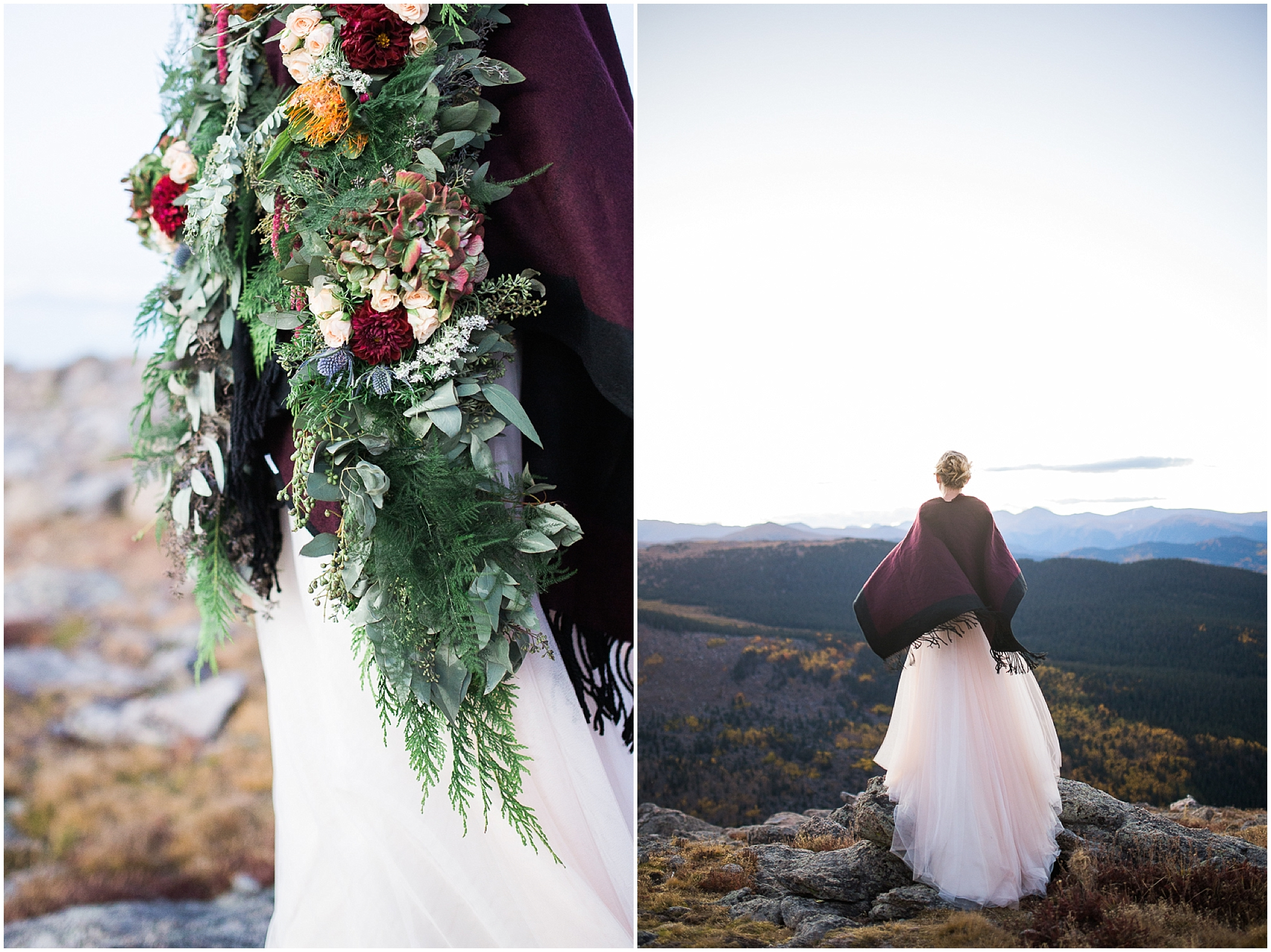 Gorgeous bride on top of 14 thousand foot mountain